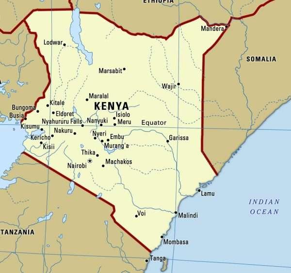 Кения на карте Африки