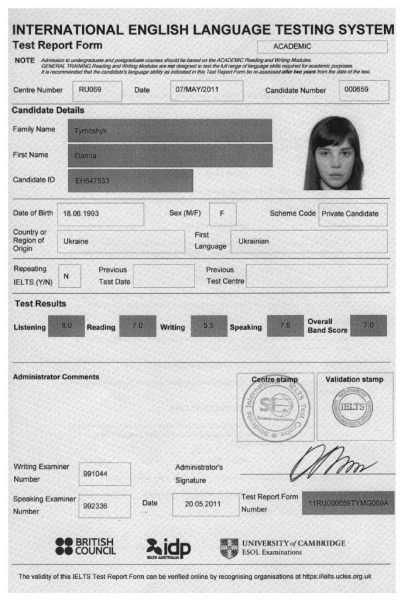 Сертификат ILETS