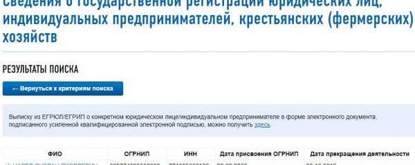 Результаты поиска ИНН и ОГРНИП на сайте ФНС