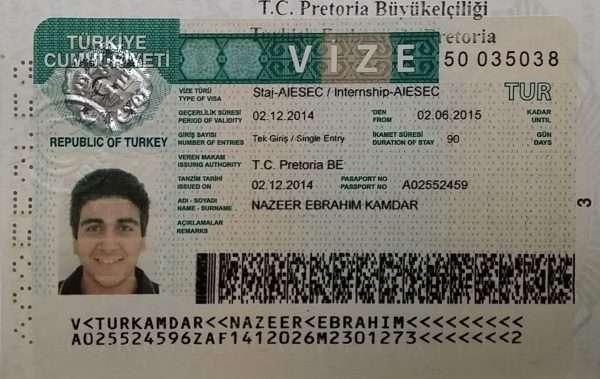 Турецкая виза в паспорте