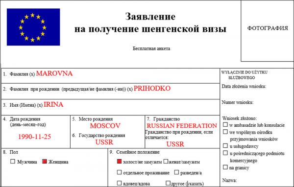 Пример заполнения анкеты на шенгенскую визу