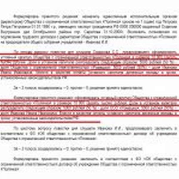 Выдержка из протокола о создании ООО