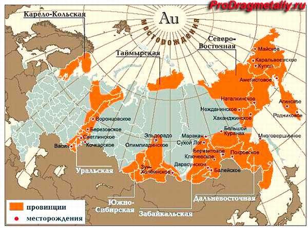 Месторождение золота в России