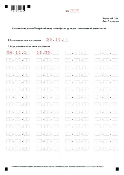 Заявление Р21001 на регистрацию ИП — страница 3