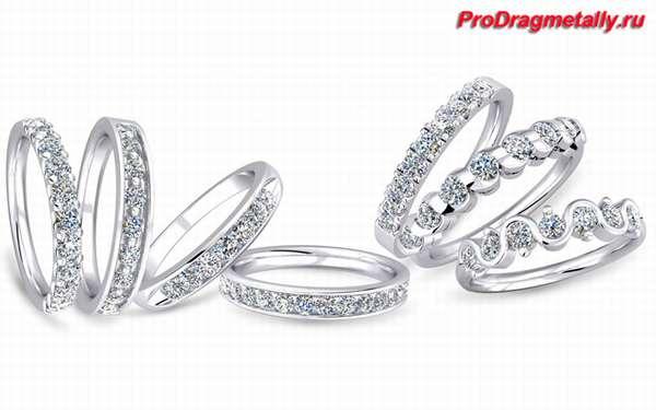 Кольца с камнями из белого золота