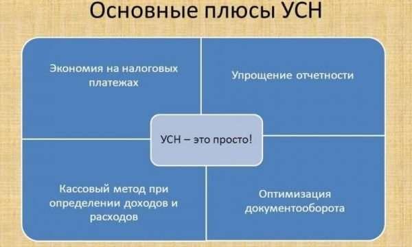 Основные плюсы УСН — схема