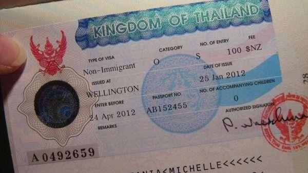 Страница паспорта с визой Таиланда