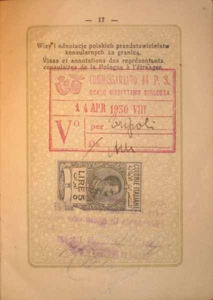 Итальянская виза в польском паспорте 1930 г