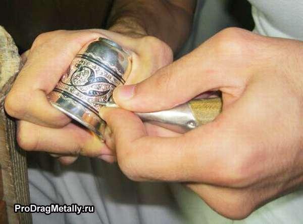 Техника механического чернения серебра