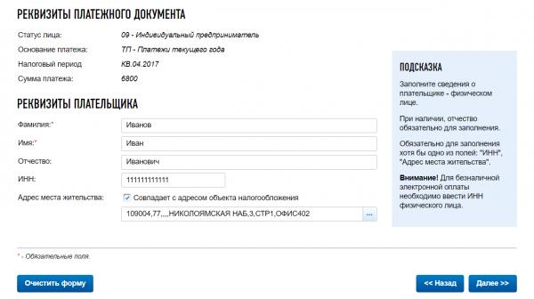 Сайт ФНС: данные о плательщике