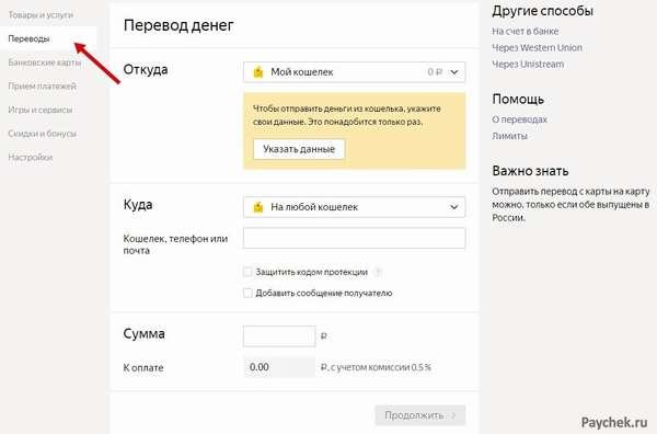 Электронные переводы в кошельке ЯндексДеньги
