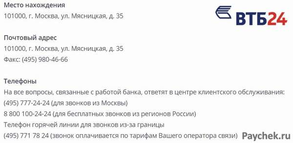 Контактные данные ВТБ 24