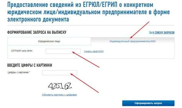 Форма запроса в реестр ЕГРИП для получения заверенной выписки на сайте ФНС