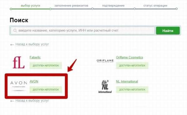 Эйвон реквизиты для оплаты через сбербанк онлайн