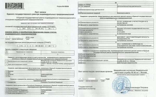 Лист записи из ЕГРИП