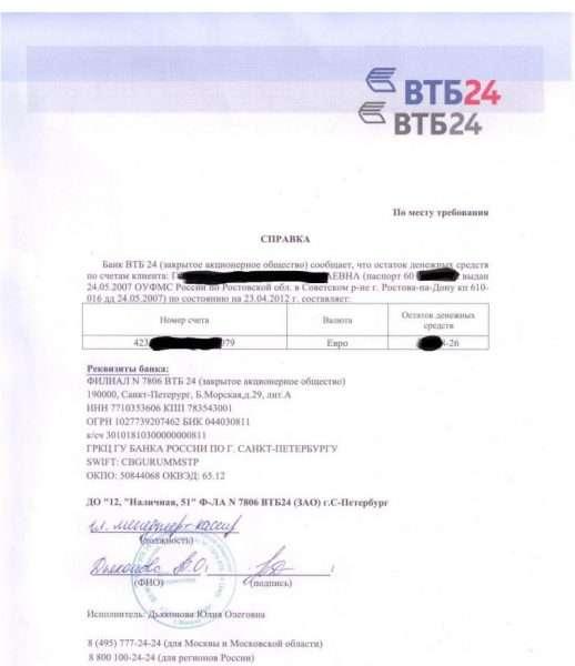 Выписка из банка об остатках на расчётном счёте денежных средств