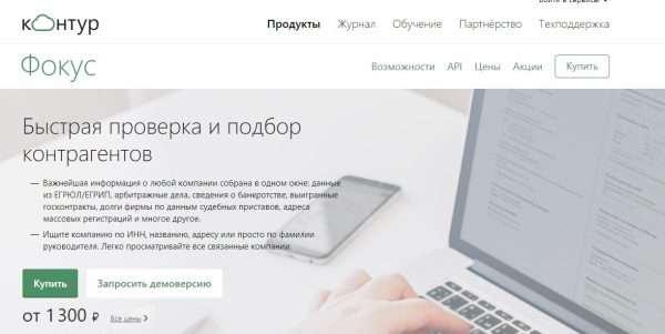 Сайт коммерческой компании «Контур-Фокус»