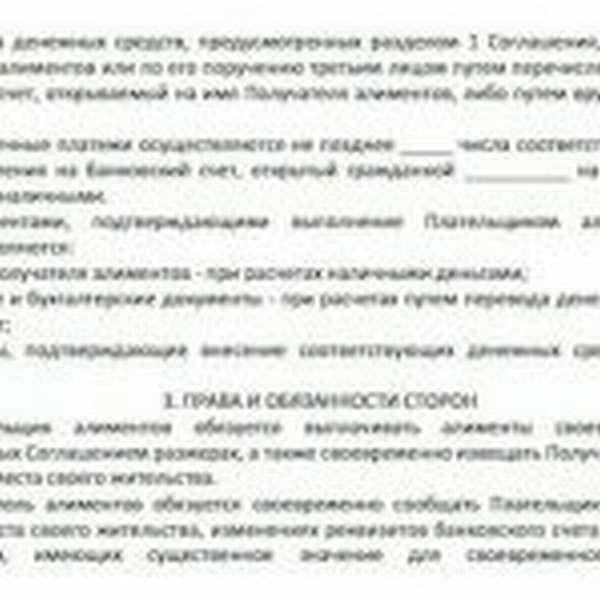 Лист 2 соглашения об уплате алиментов