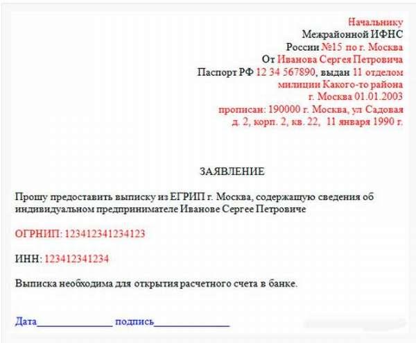 Образец заявления в налоговую инспекцию на получение выписки ЕГРИП на самого себя