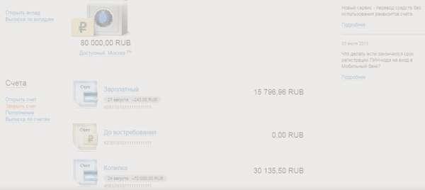 Личный кабинет интернет-банка Уралсиб