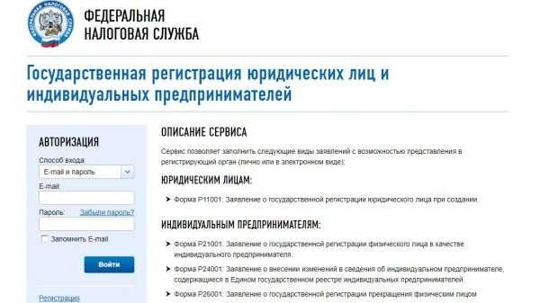 Скрин описания сервиса по регистрации ИП на сайте ФНС РФ