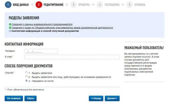 Скрин сайта ФНС РФ, онлайн-регистрация ИП, шаг № 8