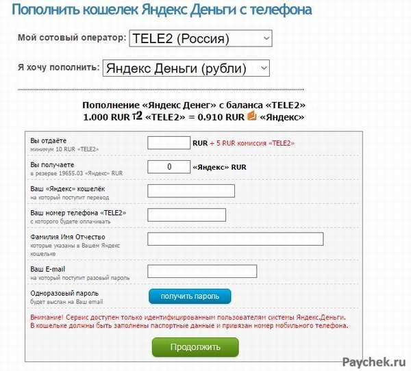 Пополнение Яндекс-кошелька через сервис SMSdengi