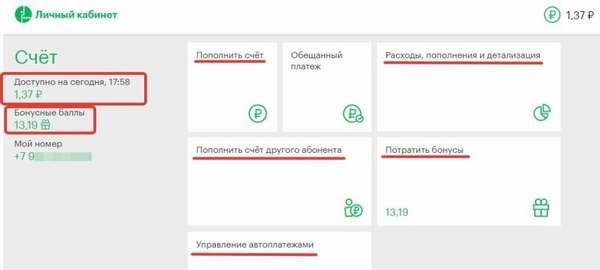 Интерфейс при входе в личный кабинет Мегафон