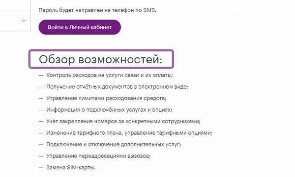 Возможности личного кабинета Мегафон для корпоративных клиентов