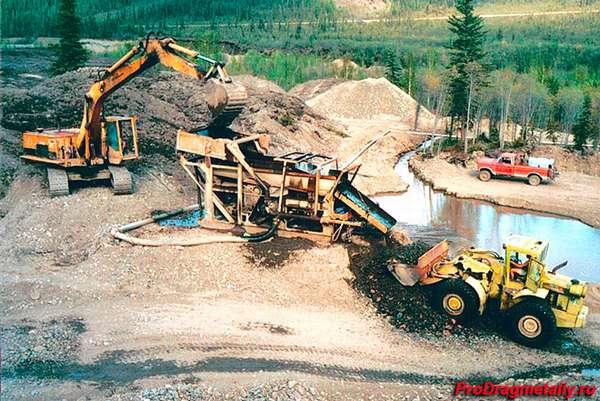 Разработка золотой руды специальной техникой