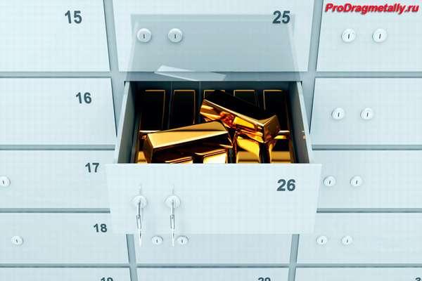 Слитки золота в сейфовой ячейке банка
