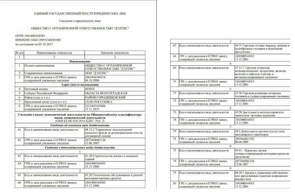Две страницы электронной выписки из ЕГРЮЛ в отношении ООО «Дэлтис»