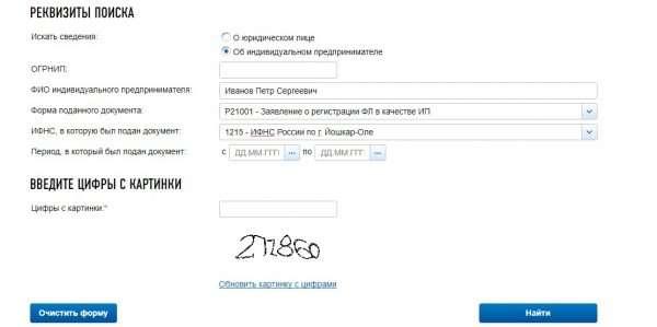 Скриншот формы поиска сервиска по проверке себе и контрагента
