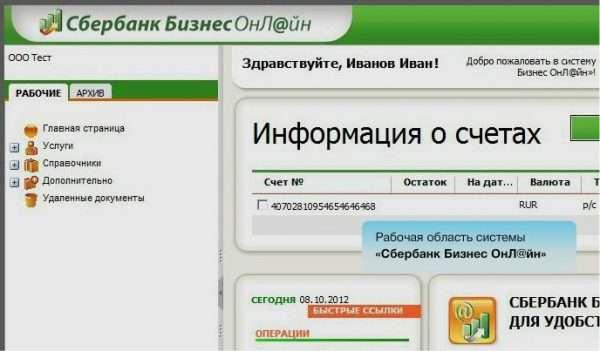 Интерфейс клиент-банка Сбербанк