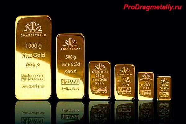 Золотые слитки разной массы