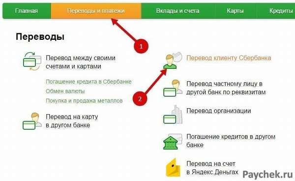 Перевод клиенту Сбербанка через Сбербанк Онлайн