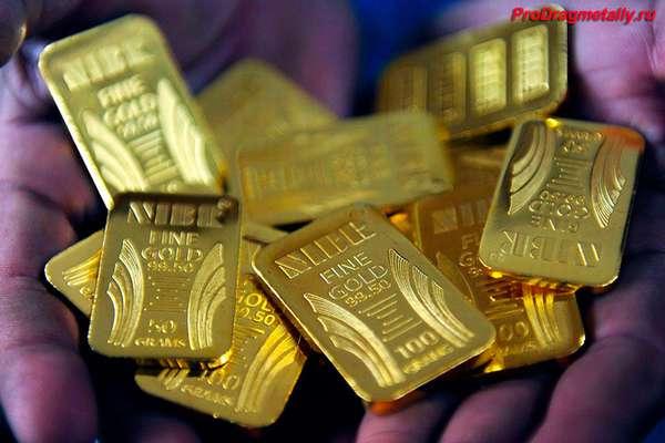 Слитки золота в руках