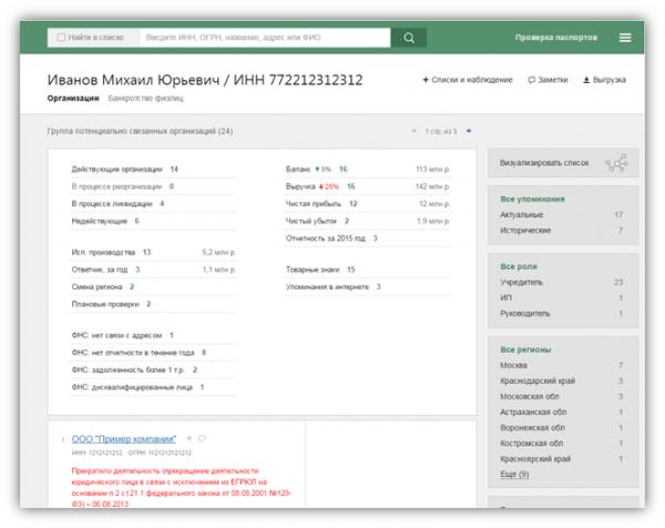 Скриншот результатов поиска в системе «Контур.Фокус»